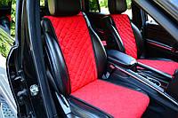 Накидки на передние сидения красные из алькантары (ровные)