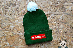 Шапка зимняя Adidas с бубоном, адидас шапка зеленая реплика