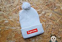 Supreme зимняя шапка белая с бубоном, мужская и женская в наличии
