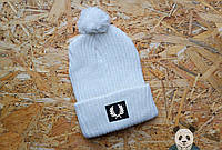 Уникальная белая шапка Fred Perry, Фред пери белая зимняя шапка