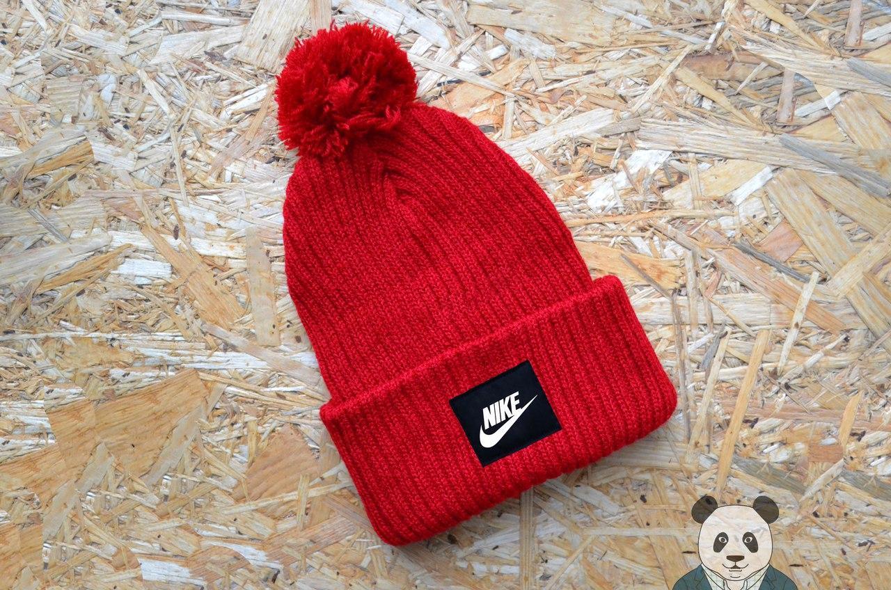 Молодежная зимняя шапка Nike, шапка красная найк реплика