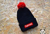 Суприм шапка зимняя вязаная, шапка черная с бубоном