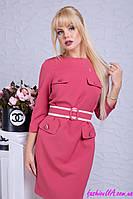 Стильное Повседневное Платье с Поясом Бордово-Розовое