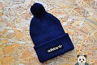 Шапка темно-синяя зимняя Adidas, Адидас зимняя шапка