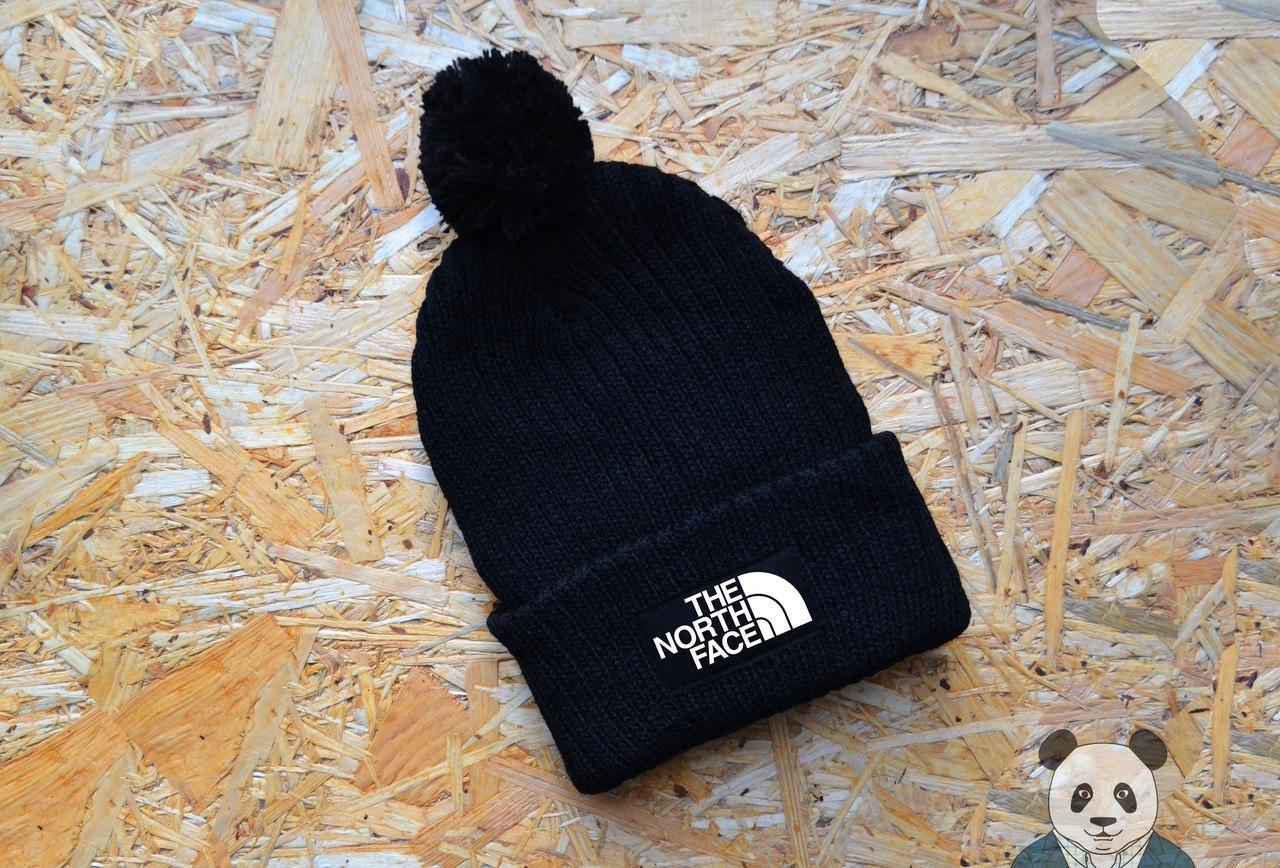 Шапка зимняя вязаная с бубоном The North Face, шапка тнф черная реплика