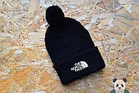 Шапка зимняя вязаная с бубоном The North Face, шапка тнф черная