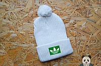 Молодежная белая шапка Adidas, зимняя с бубоном, вязаная