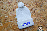 Adidas зимняя шапка, белая с бубоном, вязаная шапка