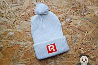 Белая зимняя шапка Рибок с бубоном, вязаная шапка с нашивкой Reebok