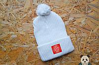 Уникальная белая зимняя шапка Stone Island, Стоун айленд шапка с нашивкой