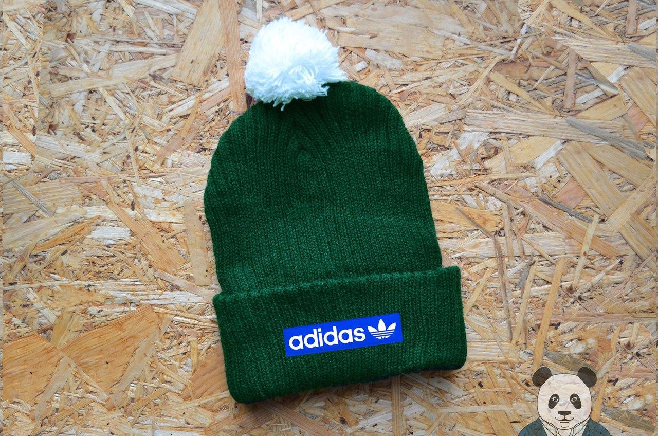 Уникальная зимняя шапка с бубоном Adidas, адидас нашивка логотип, вязаная шапка реплика