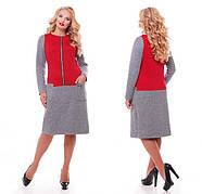 Женское повседневное платье Кэти NEW / размер 52-58 / цвет бордо, фото 4