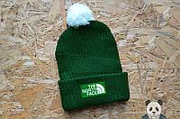 Стильная зеленая зимняя шапка The North Face, вязаная реплика