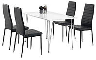 Комплект кухонный мебели ( стол белый + 4 стула черный)