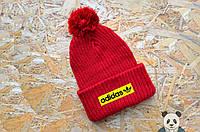 Молодежная шапка зимняя с логотипом Adidas, вязаная шапка с бубоном реплика