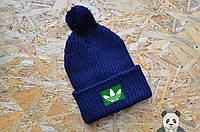 Яркая темно-синяя шапка Adidas, шапка вязаная реплика