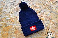 Молодежная зимняя шапка с бубоном, нашивка Адидас с бубоном реплика