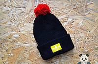 Adidas зимняя шапка с бубоном, черная вязаная