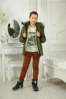 Куртка подростковая теплая на овчине для мальчика,хаки,р.8-11 лет