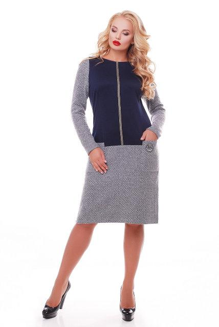 Женское повседневное платье Кэти NEW / размер 52-58 / цвет синий
