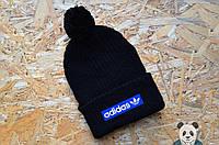 Adidas шапка зимняя с бубоном, вязаная черная