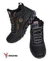 Мужские зимние кожаные ботинки, SPLINTER, черные, сбоку резиновый желтый кружочек