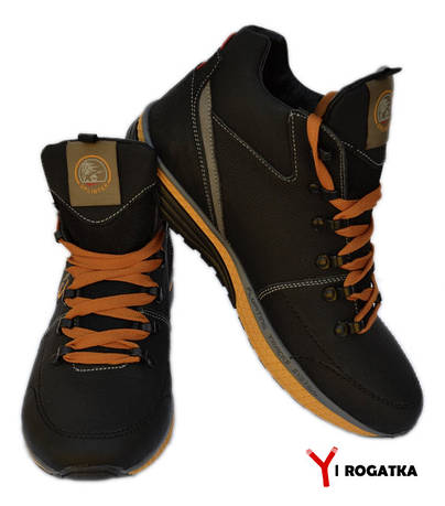 Мужские зимние кожаные ботинки, черные, с черно-желтой резинкой