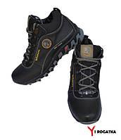Подростковые зимние кожаные ботинки, SPLINTER, черные, сбоку желтый кружочек