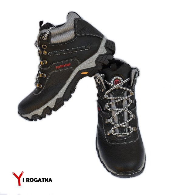 Подростковые зимние кожаные ботинки, SPLINTER, черные, прошитые