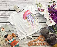 Хлопковая футболка для девочки с нежным принтом.  TS3974