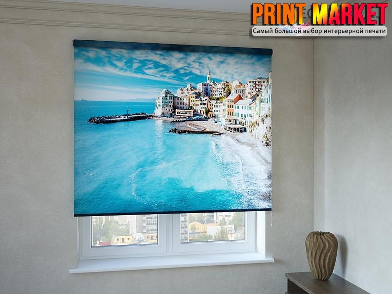 Рулонные шторы с фотопечатью город у моря 3d