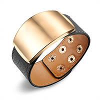 Женский кожаный браслет с широкой пластиной