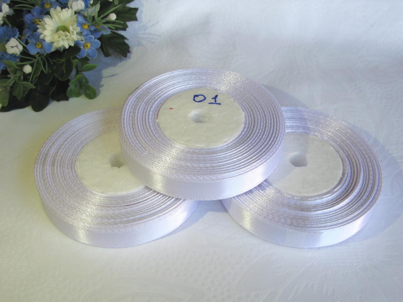 Атласная лента 1.2 см цвет - белый (01)  бобина 23 м
