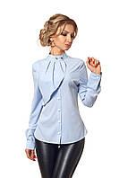 Блуза с жабо голубая