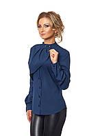 Блуза с жабо темно-синяя