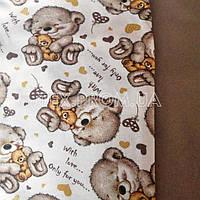 Трикотажное полотно двунитка с начесом хлопок пенье, печать мишки