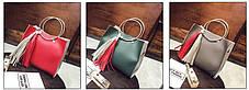 Двухцветная сумочка с ручками-кольцами , фото 3