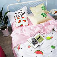 Постельное белье Арбузик саржа 100% хлопок комплект евро кровать 2.0м