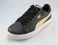 Кроссовки мужские  PUMA BASKET  черные бело-золотые (пума) (р.41,42,43,44)