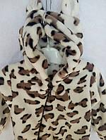Теплый махровый комбинезон человечек для новорожденного Тигренок на молнии