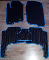 Коврики в салон, модельные, материал EVA черные (синий рант)