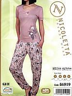 Пижама  женская футболка и брюки из вискозы   Nicoletta 86919, фото 1