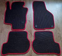 Коврики в салон, модельные, материал EVA черные (красный рант)