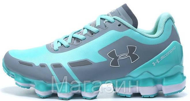 Женские спортивные кроссовки Under Armour Scorpio Blue Grey (в стиле Андер Армор) голубые/серые