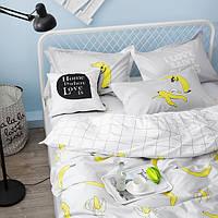 Постельное белье Бананы саржа 100% хлопок комплект евро кровать 2.0м