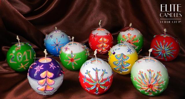 свечи шары новогодние