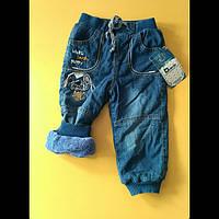 Теплые джинсовые штаны для мальчиков 86-92