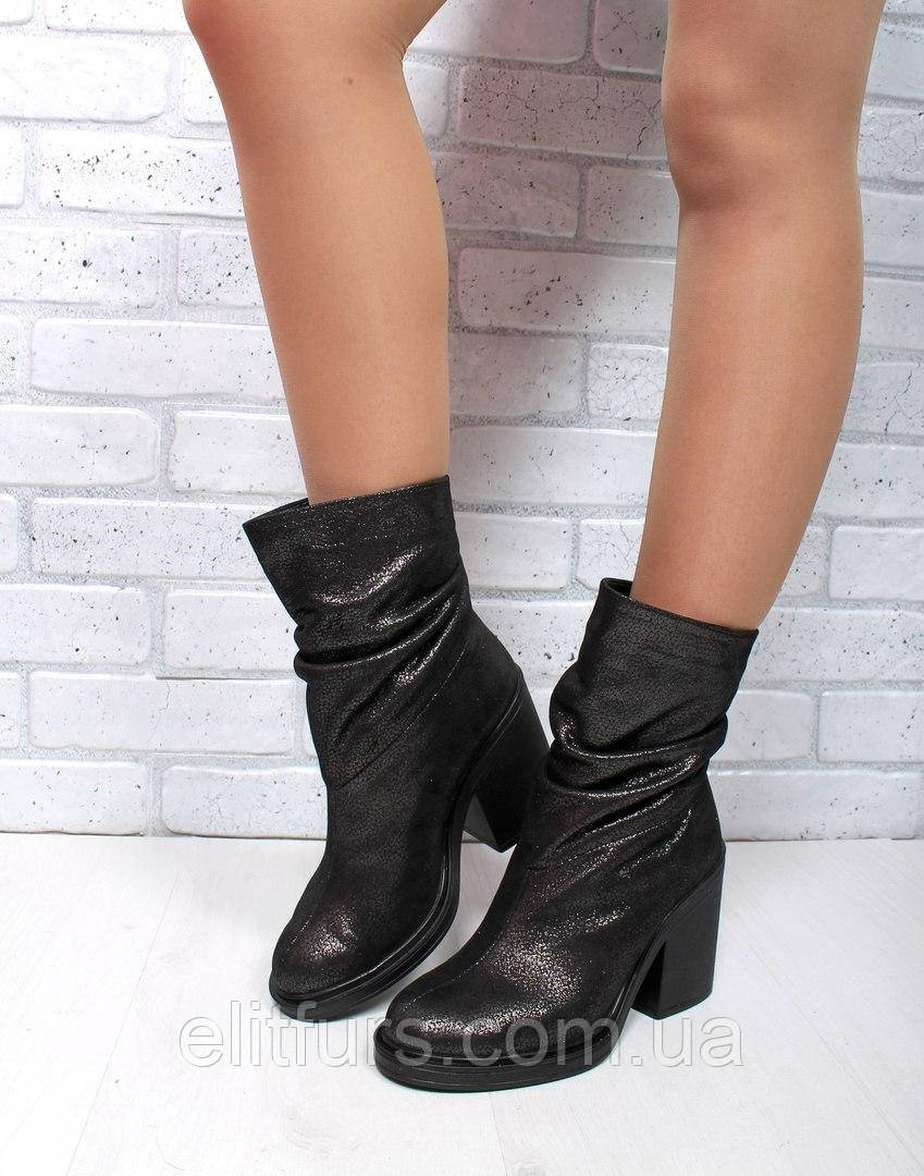 Полусапожки  широкий  каблук   без  молнии никель черный натуральный  замш