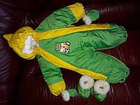 """Комбинезон-трансформер 4 в 1 со съемным мехом """"Шалунишка"""" зеленый с желтым"""