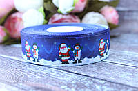 "Лента репсовая с рисунком 2.5 см ""Дед Мороз и снеговик"" на синем фоне , 25 ярд, оптом"